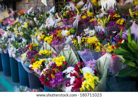 Flowers for sale at a market in New York City - stock photo