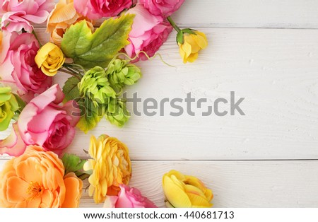 flowers frame background - stock photo