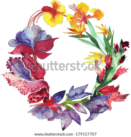 Flowers frame watercolor illustration - stock photo