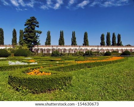 Flowers garden, Czech republic, Kromeriz - stock photo