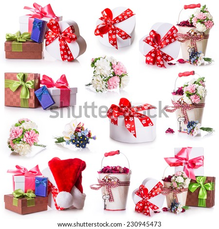flowers gift box bow ribbon Christmas holiday - stock photo