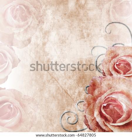 Flowers grunge background - stock photo