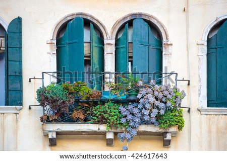 Flowers in a box on the window. Venice, Italy - stock photo