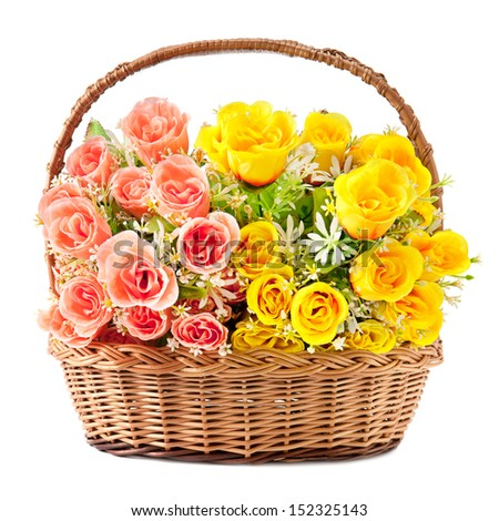 flowers in basket isolate on white background - stock photo