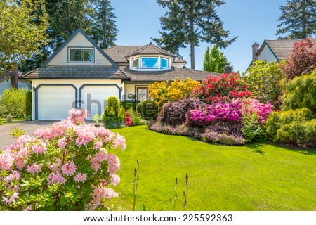 Flowers in front of the house, front yard. Landscape design. - stock photo