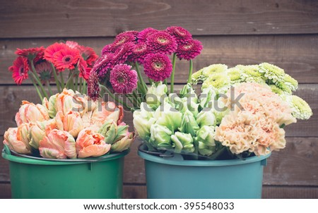 Flowers in the bucket - stock photo