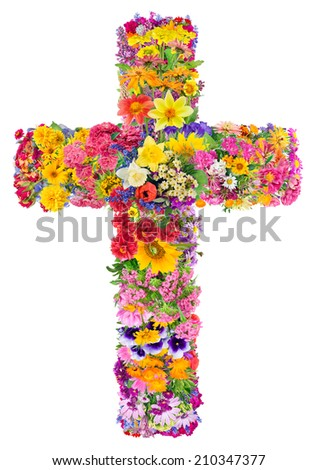 Flowers of a cross of Jesus in my heart concept. Collage from summer plants. Isolated. You can find all the full sized images in my portfolio. - stock photo