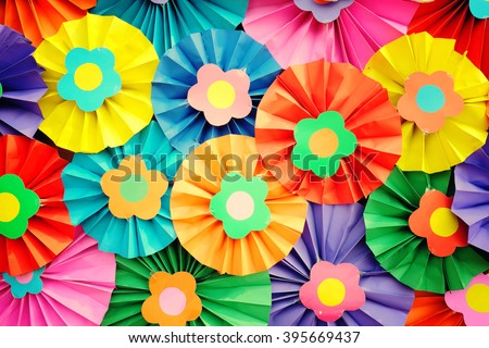 Flowers of paper craft colorful background - vintage effect style. - stock photo