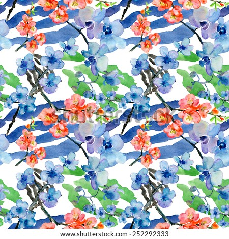 Flowers on animal abstract print. Seamless pattern - stock photo