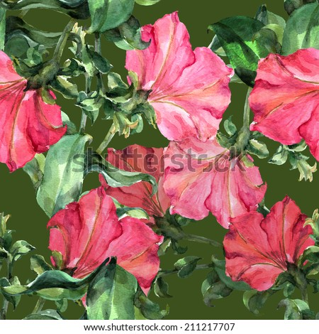 Flowers  pink petunia on a green background, seamless pattern - stock photo