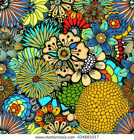 Flowers seamless pattern decorative Art card illustration Doodle funny plants - stock photo