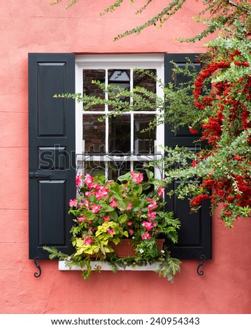 Flowers under shuttered window of a pink building - stock photo