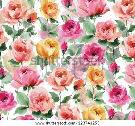 flowers watercolor original pattern seamless design - stock photo