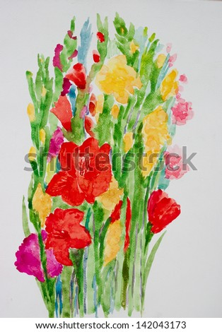 flowers ' watercolor painting - stock photo