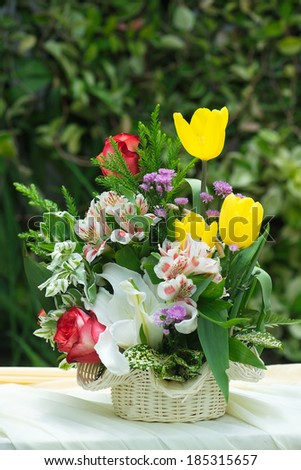 Flowers with a vase - stock photo