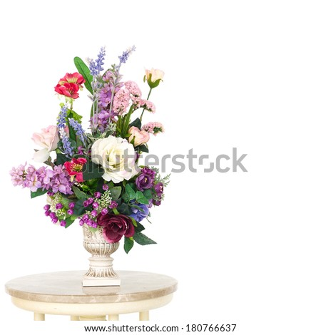 Flowers with a vase, isolated on white background - stock photo