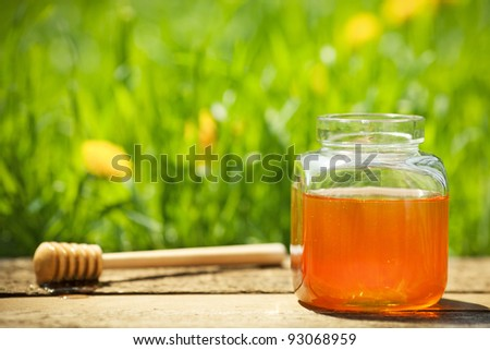 Flowery honey in glass jar on wooden table against spring natural green background - stock photo