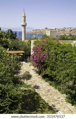 Flowery stone path to the old historical Mosque in Bodrum Castle, Turkey. This mosque was called the Suleymaniye Camii, as attested by a traveler, Evliya Celebi, who visited Bodrum in 1671 - stock photo
