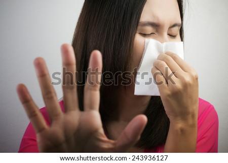 Flu cold or allergy symptom - stock photo