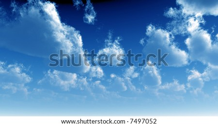 Fluffy clouds in the blue sky before thunderstorm - stock photo