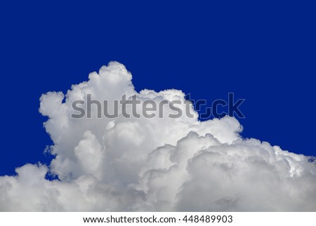 Fluffy Cumulus Cloud Isolated on the Blue Background. Ozone Layer Cutout - stock photo