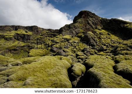 Fluffy green moss on rocks, Lakagigar, Iceland - stock photo