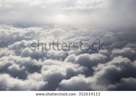 Fluffy storm clouds, aerial photography. - stock photo