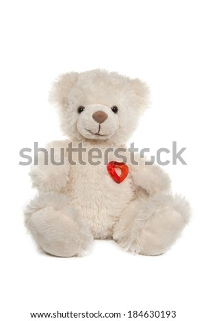 Fluffy white teddy bear with a heart on white - stock photo