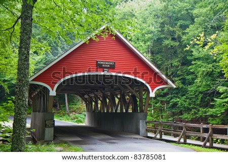 Flume gorge state park covered bridge in Franconia, New Hampshire - stock photo