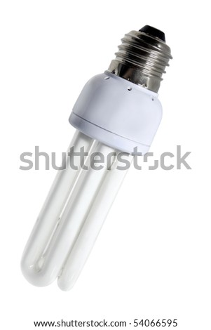 fluorescent lamp bulb isolated on a white background - stock photo