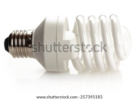 Fluorescent light bulb isolated on white background. - stock photo