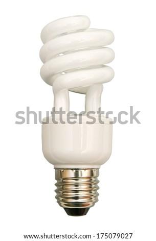 fluorescent light bulb on a white background - stock photo