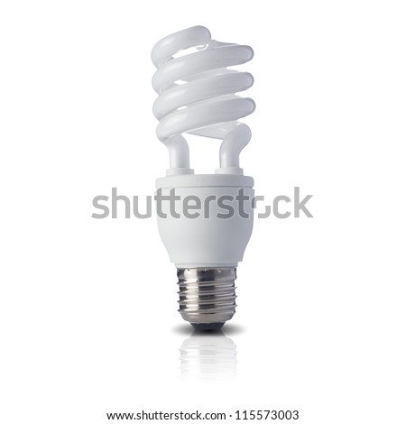 Fluorescent light bulb on white background. Concept for energy conservation - stock photo