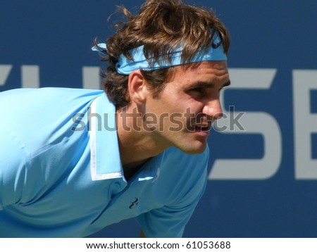 FLUSHING, NEW YORK- SEPT. 4:  Roger Federer focusing on the match in Arthur Ashe stadium,  Sept. 4, 2010, Flushing, New York. - stock photo