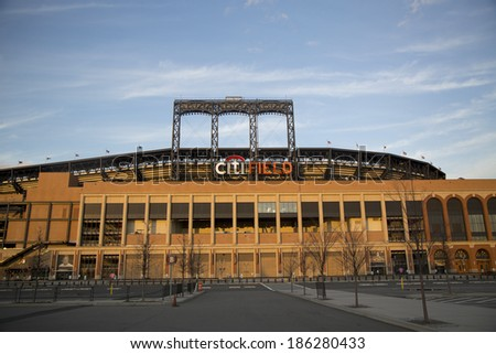 FLUSHING, NY - APRIL 8: Citi Field, home of major league baseball team the New York Mets on April 8, 2014 in Flushing, NY. - stock photo