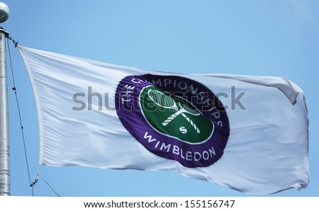 FLUSHING, NY - AUGUST 27  The Wimbledon championship flag at Billie Jean King National Tennis Center during  US Open 2013 on August 27, 2013 in Flushing, NY - stock photo