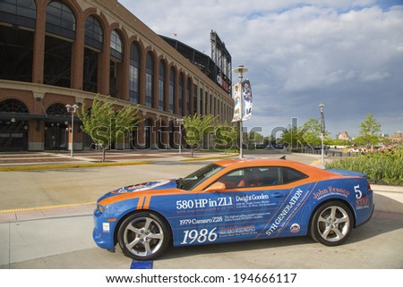 FLUSHING, NY - MAY 18: Chevrolet Camaro Mets Special Edition car in the front of the Citi Field, home of major league baseball team the New York Mets on May 18, 2014.  - stock photo