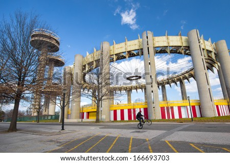 FLUSHING QUEENS - FEB 17:  Historic New York City 1964 Worlds Fair structures seen on February 17, 2012 in NYC.  These landmark relics are located on the grounds of  Flushing Meadows Corona Park. - stock photo