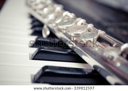 flute and piano - stock photo