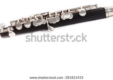 Flute Music Instrument Flute Piccolo isolated on white - stock photo