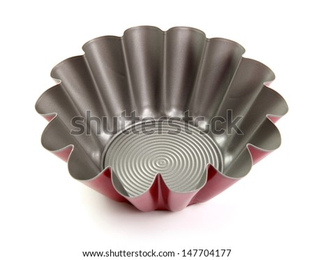 Fluted Cake Tin, Mould, Pan. Cupcake (Brioche, Tart, Sponge) Muffin Tin. Non Stick. Isolated with clipping path. - stock photo