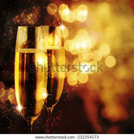 Flutes of champagne. - stock photo