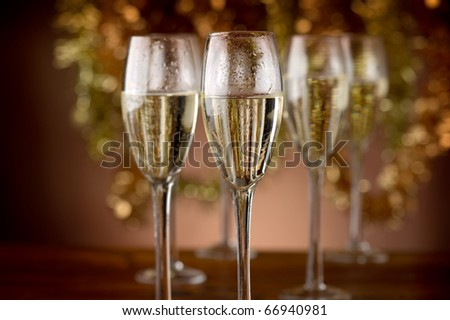 flutes with champagne - stock photo