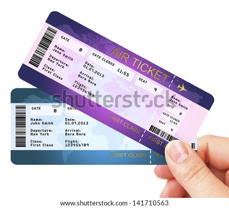 fly air tickets holded by hand over white background - stock photo