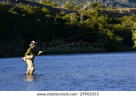 Fly fishing - stock photo