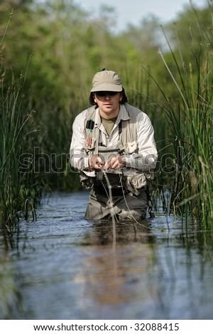 Fly-fishing - stock photo