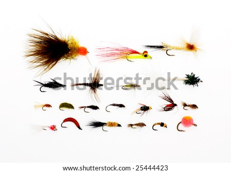 Fly fishing background - stock photo