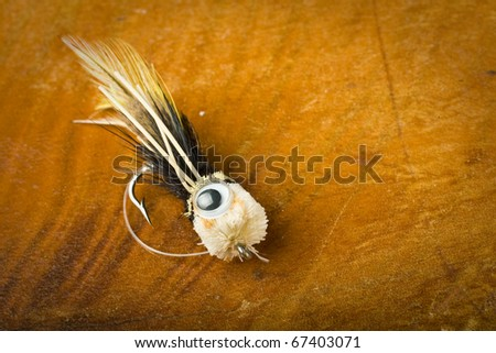 Fly fishing lure, large popper style - stock photo