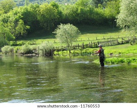 Fly-fishing on Ribnik - stock photo