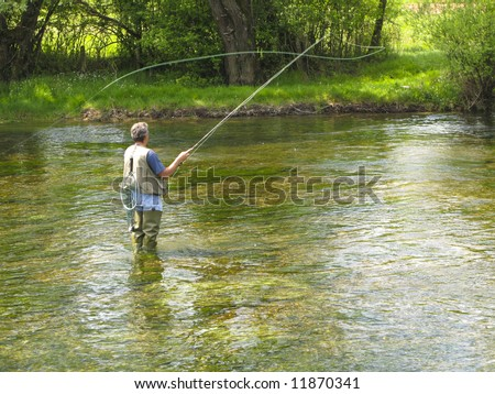 Fly fishing on Ribnik river - stock photo